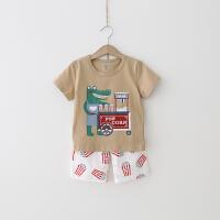 儿童家居服 2018夏季新款男女童 棉质睡衣套装卡通短袖家居服