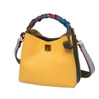 卡洛黛茜包包女新款潮斜挎包撞色水桶包女包丝巾包单肩手提包