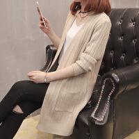 中长款毛衣外套女秋季新款2018韩版宽松慵懒风长袖外搭针织开衫潮