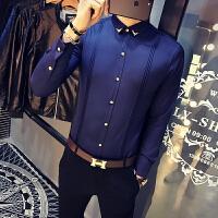 蓝色衬衫男长袖修身 韩版 学生简约青年衬衣薄款寸衫潮流帅气
