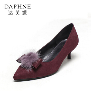 Daphne/达芙妮秋季甜美蝴蝶结尖头中跟浅口女单鞋