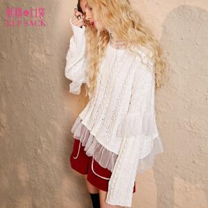 【3折价131.7元】妖精的口袋Y塞纳河恋曲冬装新款宽松短款网纱拼接纯色毛衣女