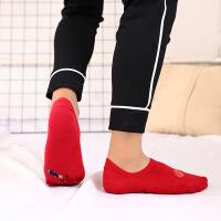 2018本命年袜子 男女棉红色踩小人隐形袜 情侣船袜红袜子 均码