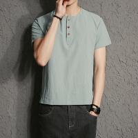 夏季小码男士上衣中国风青年汉服亚麻复古居士服民族风S码短袖t恤