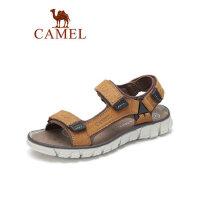 camel骆驼真皮沙滩凉鞋2019夏季新款魔术贴平底防滑潮流休闲鞋百搭男鞋