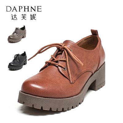 Daphne/达芙妮秋英伦学院风复古圆头粗跟女单鞋