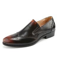 新品男鞋尖头布洛克雕花鞋子男系带亮皮鞋结婚鞋英伦男单鞋套脚懒人鞋