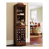 美式全实木小酒柜现代简约红酒柜实木餐边柜茶水储物柜定制定做 无门