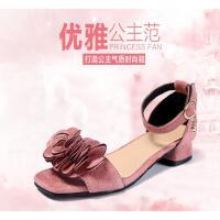 童鞋女童高跟凉鞋夏季小女孩公主鞋学生中大童儿童鱼嘴鞋