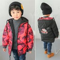 童装男童2017冬季新款儿童棉衣外套两面穿加厚冬装迷彩棉袄潮