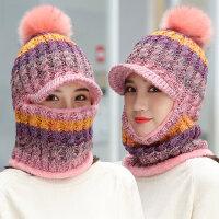 百搭可爱加绒毛线帽 韩版帽子女围脖一体 户外保暖护耳针织帽遮脸帽子