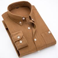 男士灯芯绒衬衫长袖新款英伦风复古青年衬衣潮