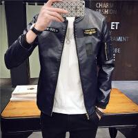 新款潮男士紧身皮衣青年pu皮夹克韩版修身小个s小码学生外套