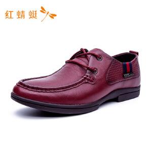 红蜻蜓圆头低跟舒适系带商务休闲皮鞋