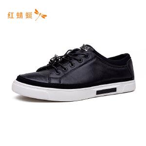 红蜻蜓男鞋新款皮鞋舒适休闲系带男单鞋