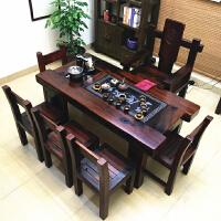 老船木客厅阳台茶几家用型茶桌实木古船木功夫泡茶台桌椅组合家具 整装