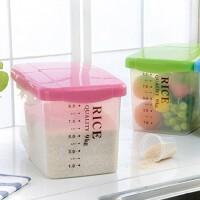 9KG米桶 储米箱 家用带轮翻盖式塑料透明米桶 储米箱厨房储物箱大米桶密封储米箱米缸面粉桶9KG家用带盖18斤