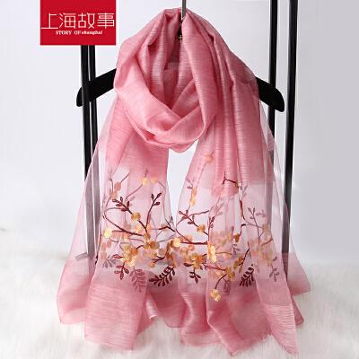 上海故事夏季披肩女蚕丝长款刺绣绣花真丝丝巾春秋羊毛百搭纱巾超大围巾