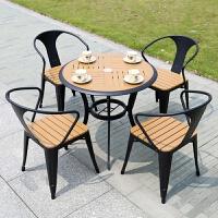 户外桌椅防腐塑木桌椅庭院咖啡厅奶茶店酒吧外摆桌椅室外花园桌椅