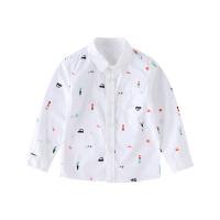 小猪班纳童装宝宝长袖衬衣儿童2020春秋新款男童翻领纯棉休闲衬衫