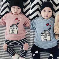 0-3-6-9-12个月婴儿冬季加绒上衣男女宝宝卡通T恤绒衫A类新生儿装