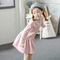 女童加绒连衣裙秋冬款长袖2017新款中大儿童韩版冬季打底裙学院风