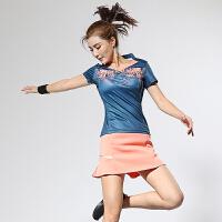 2018中国风羽毛球服套装短袖V领T恤男女款运动训练透气网球服