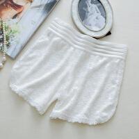 安全裤防外穿打底裤女冬薄款高腰花边保险裤大码白色蕾丝短裤 均码