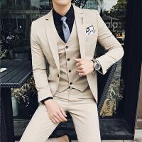 2018春季新款男士西服套装韩版修身三件套商务西装正装纯色婚礼服