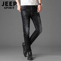 JEEP吉普 春夏薄款牛仔裤男长裤子男装时尚休闲潮流青年修身黑色磨白牛仔长裤