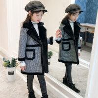 秋冬韩版中大童加绒加厚毛呢大衣洋气呢子上衣潮女童外套