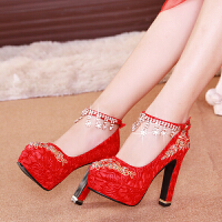 中式婚鞋女2018新款红色高跟鞋结婚鞋子新娘鞋粗跟台秀禾红鞋 红色 12厘米花钻绑带