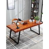 实木家用台式电脑桌书桌简易办公桌简约现代铁艺长条写字桌工作台