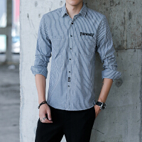 春秋条纹衬衫男士长袖韩版修身衬衣青少年寸衫