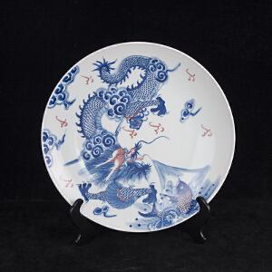 C700《旧藏青花釉里红鲤鱼跳龙门图纹大盘》(北京文物公司旧藏。此大盘器型规整,色彩艳丽,图案清晰,寓意吉祥美好,包浆丰润,保存完整。底款为:大清康熙年制。收藏价值极高)