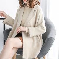 双面貂绒大衣女2018冬季新款韩版宽松外套中长款毛衣开衫