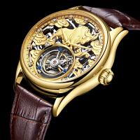 老板真陀飞轮手表 时尚镂空真皮带防水男表男士机械表