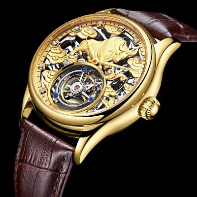 老板真陀飞轮手表 时尚镂空真皮带防水男表男士机械表 品质保证 售后无忧 支持货到付款