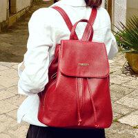 背包包女士黑色双肩包女真皮韩版软皮时尚百搭简约学生牛皮质书包 白色 背包