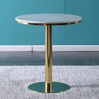 大理石餐桌椅组合不锈钢家具咖啡厅商务接待洽谈桌北欧小圆桌