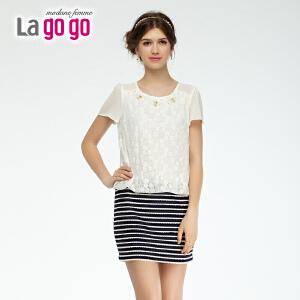 lagogo拉谷谷2014夏季新款蕾丝勾花条纹拼接洋装