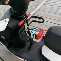 电动摩托车宝宝儿童前置折叠座椅踏板女士摩托车小孩婴儿安坐凳新品 西瓜红 半围+防撞+安全带