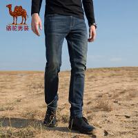 骆驼男装秋冬新款洗水牛仔裤男青年直筒微弹韩版修身休闲长裤