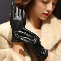 女式绵羊皮手套蝴蝶结加绒加厚手套真皮手套女保暖短款皮手套