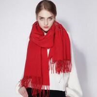 百搭冬季羊绒大红色披肩两用中国红羊毛围巾女