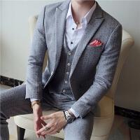 春季男士韩版修身暗提花西服套装 英伦潮社会青年婚礼三件套