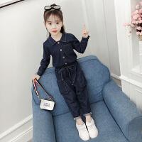 女童秋装牛仔套装时髦韩版洋气儿童秋季潮衣女大童两件套