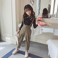 儿童装女童秋装背带裤套装韩版中大童洋气小女孩两件套潮