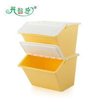 开馨宝 半掀盖多用收纳箱/整理筐-两个装 黄色(K8121-4)