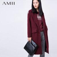 【券后秒杀80元】Amii[极简主义]冬新西装翻领羊毛毛呢外套长款呢大衣11571703